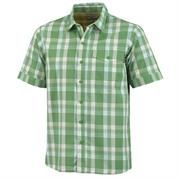 Columbia Mens Kick Fix Plaid Short Sleeve Shirt, Palm