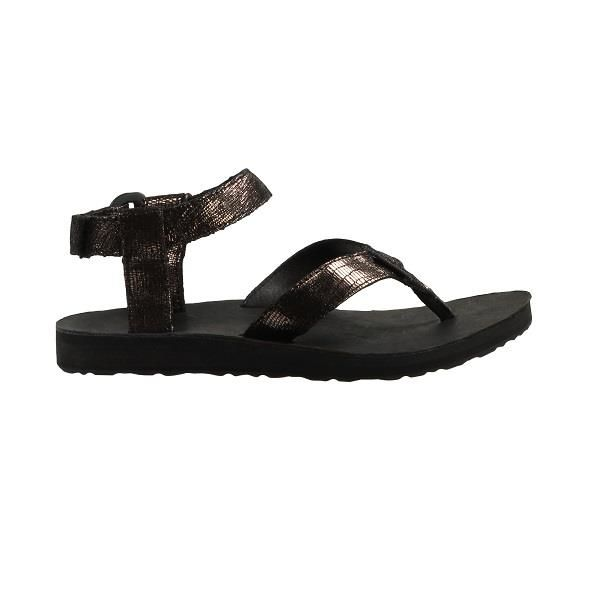 Teva Original Sandal Leather Metallic Dame, Black